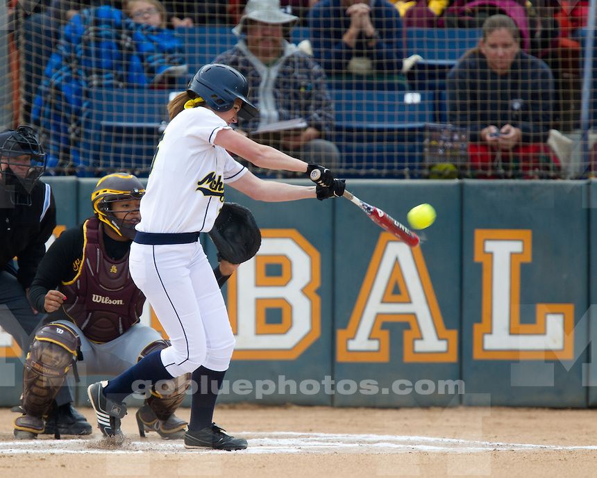 The University of Michigan's softball team fell to No. 5 Arizona State 1-0 in the 2012 Judy Garmin Classic at the Titan Softball Complex in Fullerton, Calif., on March 16, 2012.