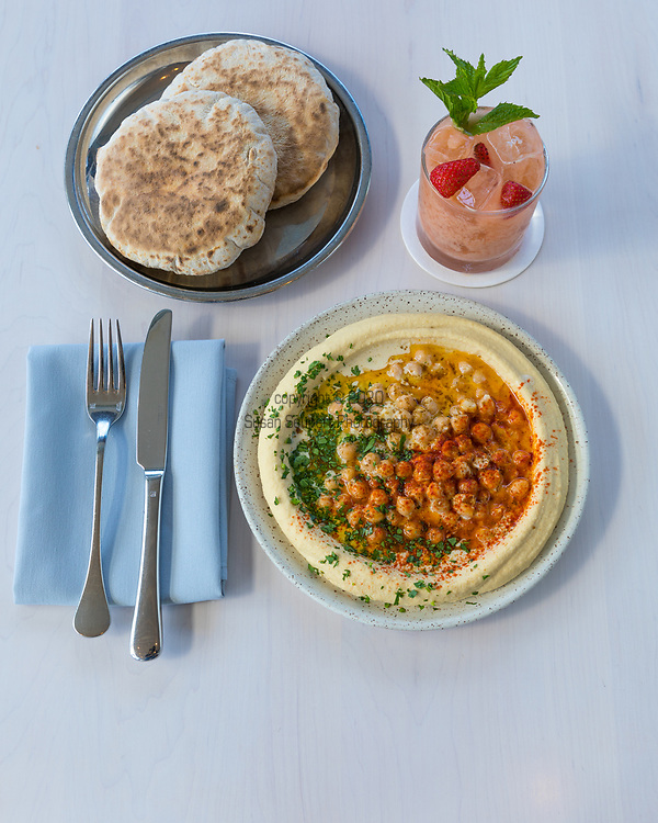 The Classic Hummus and Flat Bread, a vegan dish, at Tusk, a Middle Eastern Restaurant in Portland, OR