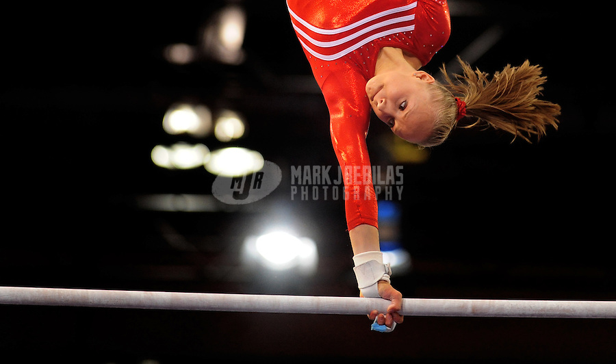 Mar 29, 2008; San Jose, CA, USA; Nastia Liukin (USA) performs on the uneven bars during the womens gymnastics all around final in the Pacific Rim Championships at the Event Center Arena. Mandatory Credit: Mark J. Rebilas-