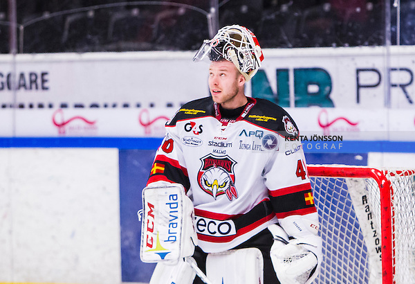 S&ouml;dert&auml;lje 2014-10-23 Ishockey Hockeyallsvenskan S&ouml;dert&auml;lje SK - Malm&ouml; Redhawks :  <br /> Malm&ouml; Redhawks m&aring;lvakt Pontus Sj&ouml;gren <br /> (Foto: Kenta J&ouml;nsson) Nyckelord: Axa Sports Center Hockey Ishockey S&ouml;dert&auml;lje SK SSK Malm&ouml; Redhawks portr&auml;tt portrait