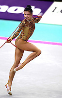 01 OCTOBER 1999 - OSAKA, JAPAN: Yulia Raskina of Belarus performs with rope at the 1999 World Championships in Osaka, Japan. Yulia took silver medal in the women's All Around.