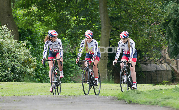 Picture by Allan McKenzie/SWpix.com - 30/06/16 - Cycling - Verve Cycling InfoCrank - National Cycling Centre, Manchester, England - British Cycling's Annasley Park, Manon Lloyd, Abigail Dentus & their bikes fitted with Verve Cycling's InfoCrank.