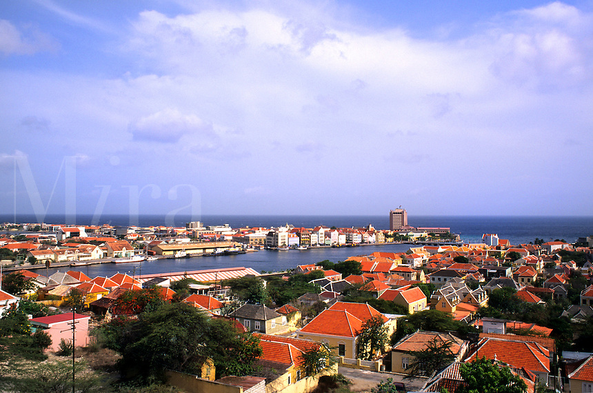 Pastel houses called Punda Gables of Handel Skade  in downtown Curacao from Queen Juliana Bridge Caribbean