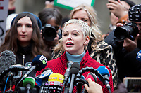 NEW YORK, NEW YORK - JANUARY 6: Actress Rose McGowan, who accused Weinstein of raping her and after destroying her career, joins other accusers and protesters and give a speech to the pres swhen Harvey Weinstein arrives at the Manhattan courthouse. On January 6, 2020 in New York City. Weinstein pleaded not guilty to five counts of rape and faces a possible life sentence in prison. (Photo by Pablo Monsalve / VIEWpress)