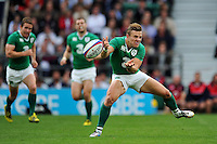 Ian Madigan of Ireland passes the ball. QBE International match between England and Ireland on September 5, 2015 at Twickenham Stadium in London, England. Photo by: Patrick Khachfe / Onside Images