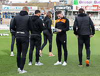 Blackpool players inspecting the pitch before the match<br /> <br /> Photographer Andrew Kearns/CameraSport<br /> <br /> The EFL Sky Bet League Two - Bristol Rovers v Blackpool - Saturday 2nd March 2019 - Memorial Stadium - Bristol<br /> <br /> World Copyright © 2019 CameraSport. All rights reserved. 43 Linden Ave. Countesthorpe. Leicester. England. LE8 5PG - Tel: +44 (0) 116 277 4147 - admin@camerasport.com - www.camerasport.com