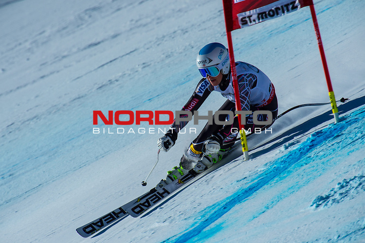 ST MORITZ, SWITZERLAND - DECEMBER 14: Julia Mancuso of the USA speeds down the course  during the Audi FIS Alpine Ski World Cup Super G race on December 14 2013 in St Moritz, Switzerland. <br /> Foto nph / Gunn