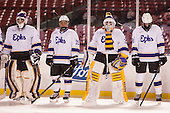 Noah Klag (Williams - 33), Sam Manzi (Williams - 19), Sam Kurland (Williams - 30), James McNamara (Williams - 3) - The Williams College Ephs defeated the Trinity College Bantams 4-2 (EN) on Tuesday, January 7, 2014, at Fenway Park in Boston, Massachusetts.