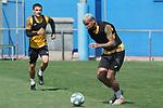 Getafe's Mauro Arambarri (l) and Deyverson Da Silva during training session. May 25,2020.(ALTERPHOTOS/Acero)