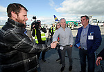 John Burke greeting friends Tony Locky O Loughlin and  Paul Mc Carthy on his arrival back to Shannon Airport, following his successful attempt, being the first Clare person ever to climb Mount Everest. Photograph by John Kelly.