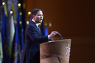National Harbor, MD - March 6, 2014: Marco Rubio addresses attendees of the 2014 Conservative Political Action Conference held at National Harbor, MD March 6, 2014.   (Photo by Don Baxter/Media Images International)