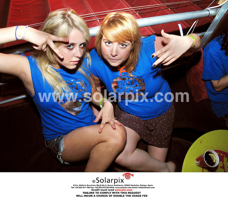 ALL-ROUND PICTURES BY SOLARPIX.COM.*MUST CREDIT SOLARPIX.COM OR DOUBLE USAGE FEE*.Peaches Geldof and her friend at the Ibiza Rocks gig featuring Kasabien last night. The two girls are DJs and are called Trash Pussy..REF: 2710 - MSR