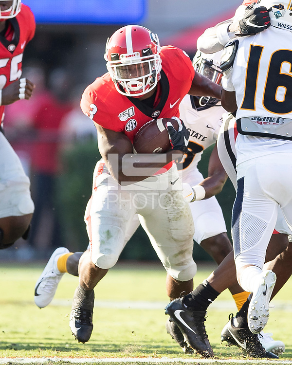 ATHENS, GA - SEPTEMBER 7: Zamir White #3 makes a run during a game between Murray State Racers and University of Georgia Bulldogs at Sanford Stadium on September 7, 2019 in Athens, Georgia.