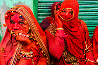 She males (men dressed as women), Lathmar Holi (Holi, Festival of Colors), Nandgaon, near Mathura, Uttar Pradesh, India.