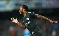 Football Soccer: UEFA Champions League Napoli vs Mabchester City San Paolo stadium Naples, Italy, November 1, 2017. <br /> Manchester City's Raheem Sterling celebrates after scoring during the Uefa Champions League football soccer match between Napoli and Manchester City at San Paolo stadium, November 1, 2017.<br /> UPDATE IMAGES PRESS/Isabella Bonotto