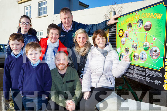 Launching the Currow Rural Developments new signs at Scoil Mhuire agus Naomh Treasa in  Currow village on Tuesday were front  l-r: Ben and Charlie Brosnan, Roger McGuire Archeologist, Margaret Hanafin Principal. Back row: Éabann Kearney, Breda McGaley, Peter O'Connor and Siobhain Fleming