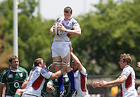 31 May 2009: Hayden Smith of USA catches the ball in the air during the Rugby game against Ireland at Buck Shaw Stadium in Santa Clara, California.   Ireland defeated USA, 27-10.