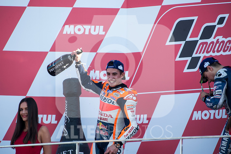 VALENCIA, SPAIN - NOVEMBER 11: Marc Marquez celebration during Valencia MotoGP 2016 at Ricardo Tormo Circuit on November 11, 2016 in Valencia, Spain