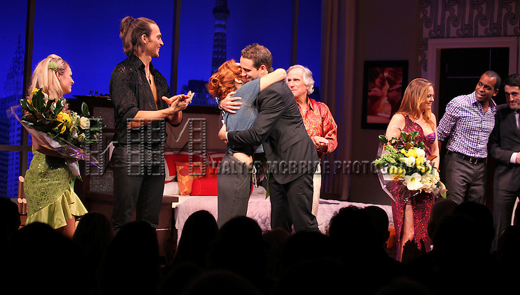 Jenni Barber, David West Read, Cheyenne Jackson, Ari Graynor, Henry Winkler, Alicia Silverstone, Daniel Breaker & Evan Cabnet during the Broadway Opening Night Performance Curtain Call for 'The Performers' at the Longacre Theatre in New York City on 11/14/2012