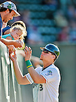 18 August 2012: Vermont Lake Monsters catcher Bruce Maxwell signs autographs prior to a game against the Brooklyn Cyclones at Centennial Field in Burlington, Vermont. The Lake Monsters defeated the Cyclones 4-1 in NY Penn League action. Mandatory Credit: Ed Wolfstein Photo