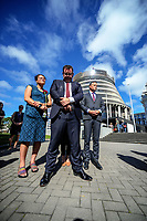 From left, MPs Louisa Wall, Grant Robertson and James Shaw. Semi-automatic weapons ban and firearms advertising regulation petitions at Parliament in Wellington, New Zealand on Thursday, 21 March 2019. Photo: Dave Lintott / lintottphoto.co.nz