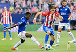 Filipe Luis (r) of Atletico de Madrid fights for the ball with Wilfred Ndidi (l) of Leicester City during their 2016-17 UEFA Champions League Quarter-Finals 1st leg match between Atletico de Madrid and Leicester City at the Estadio Vicente Calderon on 12 April 2017 in Madrid, Spain. Photo by Diego Gonzalez Souto / Power Sport Images
