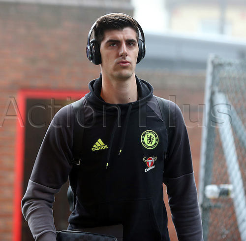 17.12.2016. Selhurst Park, London, England. Premier League Football. Crystal Palace versus Chelsea. Goalkeeper Courtois arriving at Selhurst Park for the game.