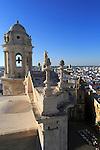 Rooftops of buildings in Barrio de la Vina, looking west from cathedral roof, Cadiz, Spain