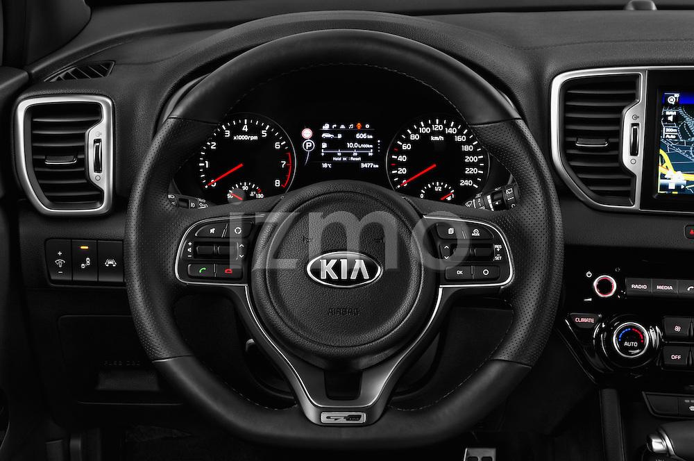 Car pictures of steering wheel view of a 2016 KIA Sportage GT-Line 5 Door Suv Steering Wheel