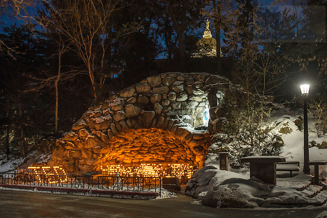 "Feb. 27, 2015; Candles at the Grotto are arranged to spell ""Ted"" in reaction to the death of President Emertius Rev. Theodore M. Hesburgh, C.S.C. (Photo by Matt Cashore/University of Notre Dame)"