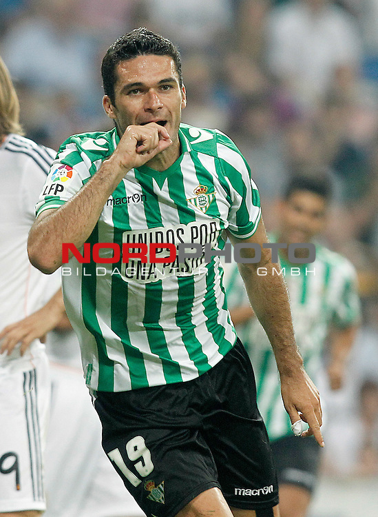 Betis' Jorge Molina celebrates goal during La Liga match.August 18,2013. Foto © nph / Acero)