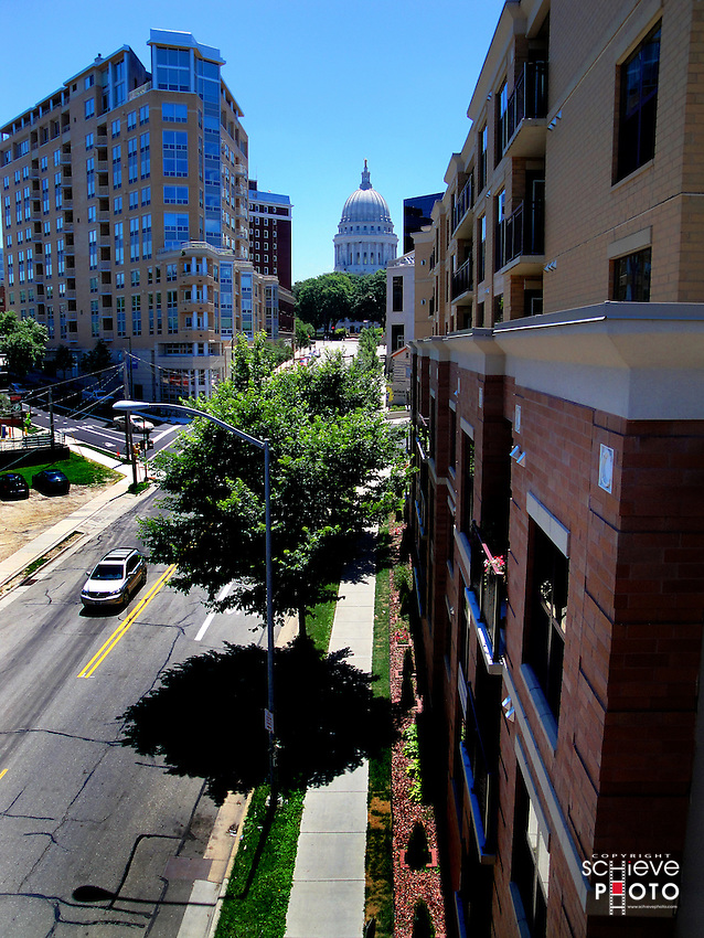 The view from the roof of 214 North Hamilton Street in Madison, Wisconsin.