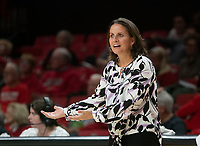 COLLEGE PARK, MD - NOVEMBER 20: Jennifer Rizzotti coach of George Washington during a game between George Washington University and University of Maryland at Xfinity Center on November 20, 2019 in College Park, Maryland.