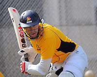 Steve Murdoch in action during the Wellington Firebirds training session at Hawkins Basin Reserve, Wellington, New Zealand on Tuesday, 2 October 2012. Photo: Dave Lintott / lintottphoto.co.nz
