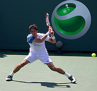 Thomaz BELLUCCI (BRA) against Nicolas ALMAGRO (ESP) in the fourth round of the men's singles. Nicolas Almagro beat Thomaz Bellucci 6-4 3-6 7-6..International Tennis - 2010 ATP World Tour - Sony Ericsson Open - Crandon Park Tennis Center - Key Biscayne - Miami - Florida - USA - Tue 30th Mar 2010..© Frey - Amn Images, Level 1, Barry House, 20-22 Worple Road, London, SW19 4DH, UK .Tel - +44 20 8947 0100.Fax -+44 20 8947 0117