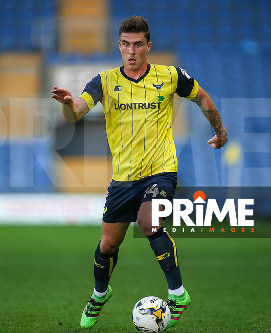 Josh Ruffels of Oxford United in action during the The Checkatrade Trophy match between Oxford United and Exeter City at the Kassam Stadium, Oxford, England on 30 August 2016. Photo by Andy Rowland / PRiME Media Images.
