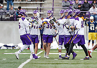 University at Albany Men's Lacrosse defeats Drexel 18-5 on Feb. 24 at Casey Stadium.  UAlbany celebrates a Connor Fields (#5) goal. (Photo by Bruce Dudek / Cal Sport Media/Eclipse Sportswire)