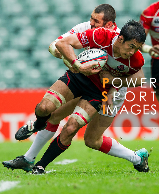 Japan play Georgia in a Qualifier Quarter Final on Day 3 of the Cathay Pacific / HSBC Hong Kong Sevens 2013 on 24 March 2013 at Hong Kong Stadium, Hong Kong. Photo by Xaume Olleros / The Power of Sport Images