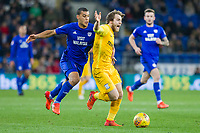 Ben Pearson of Preston North End appeals for a foul while being challenged by Lee Peltier of Cardiff City during the Sky Bet Championship match between Cardiff City and Preston North End at the Cardiff City Stadium, Cardiff, Wales on 29 December 2017. Photo by Mark  Hawkins / PRiME Media Images.