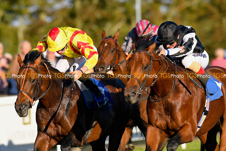 Winner of The Weatherbys General Stud Book Handicap Stakes Helvetian (b) ridden by Andrea Atzeni and trained by Mick Channon  during Afternoon Racing at Salisbury Racecourse on 3rd October 2018