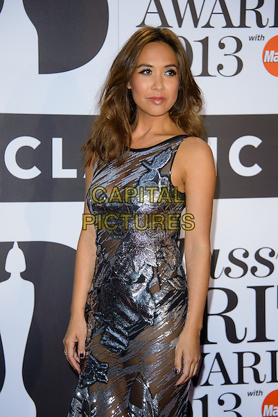 Myleene Klass<br /> Classical Brit Awards 2013 at The Royal Albert Hall - Arrivals, London, England.<br /> 2nd October, 2013<br /> half length dress silver sheer see through thru metallic sleeveless cleavage knickers underwear<br /> CAP/CJ<br /> &copy;Chris Joseph/Capital Pictures