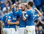 Kris Boyd shows his delight at finally scoring for Rangers in the league
