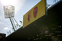 Team displayed on a board below floodlight pre match during the Premier League match between Watford and Arsenal at Vicarage Road, Watford, England on 16 September 2019. Photo by Andy Rowland.
