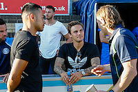 "Gareth Ainsworth Manager of Wycombe Wanderers (left) chats to Sam Saunders (centre) and Nicholas Harry ""Nico"" Yennaris ahead of the Friendly match between Wycombe Wanderers and Brentford at Adams Park, High Wycombe, England on 19 July 2016. Photo by David Horn PRiME Media Images."