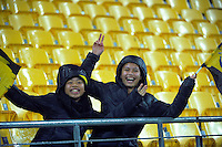Fans brave the rain during the Super Rugby match between the Hurricanes and Highlanders at Westpac Stadium, Wellington, New Zealand on Friday, 27 May 2016. Photo: Dave Lintott / lintottphoto.co.nz
