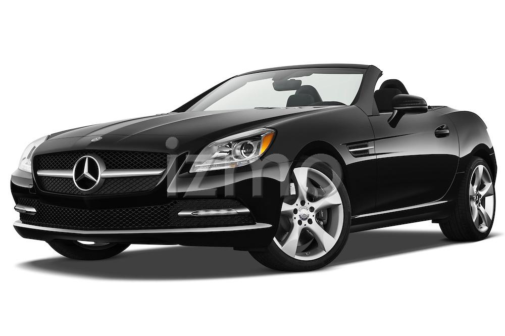 Low aggressive front three quarter view of a 2013 Mercedes SLK Class.