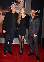 WESTWOOD, CA - FEBRUARY 05: (L-R) James Cameron, Suzy Amis Cameron and Christoph Waltz attend the Premiere Of 20th Century Fox's 'Alita: Battle Angel' at Westwood Regency Theater on February 05, 2019 in Los Angeles, California.<br /> CAP/ROT/TM<br /> &copy;TM/ROT/Capital Pictures