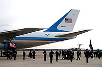 The flag-draped casket of former President George H.W. Bush is carried by a joint services military honor guard to Special Air Mission 41, Wednesday, Dec. 5, 2018, at Andrews Air Force Base, Md. <br /> CAP/MPI/RS<br /> &copy;RS/MPI/Capital Pictures
