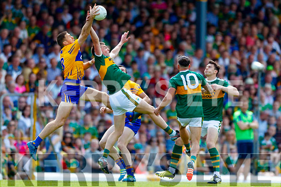 Jack Barry Na Gaeil Kerry in action against Gary Brennan Clare during the Munster GAA Football Senior Championship semi-final match between Kerry and Clare at Fitzgerald Stadium in Killarney on Sunday.