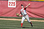 MADISON, WI - APRIL 16: Center fielder Samantha Polito #4 of the Wisconsin Badgers softball team throws the ball against the Indiana Hoosiers at Goodman Diamond on April 16, 2007 in Madison, Wisconsin. (Photo by David Stluka)